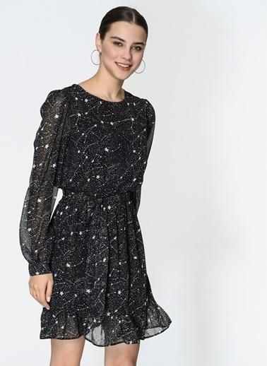 Loves You Beli Lastikli Yıldız Desenli Şifon Elbise Siyah